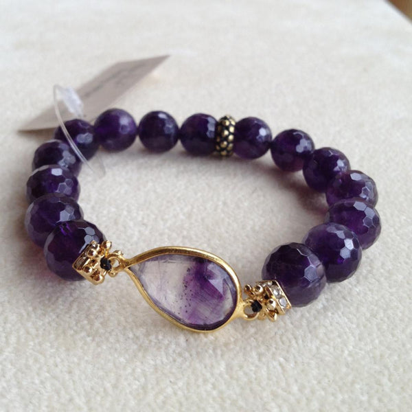 Faceted Amethyst with Amethyst Quartz Bezel