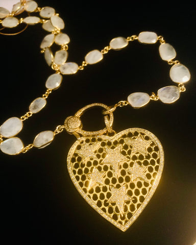 Heart Star Diamond Necklace with Moonstone