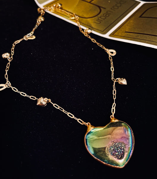 Pyrite druzy heart necklace
