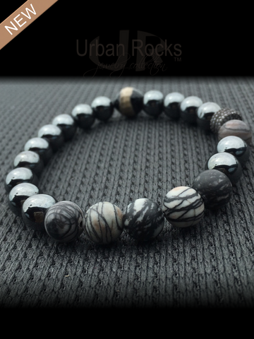 Hematite and Painted Black Onyx