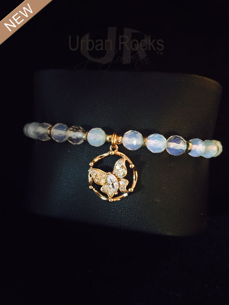 Moonstone Bracelet with Vermeil Gold with Pave Crystal Butterfly