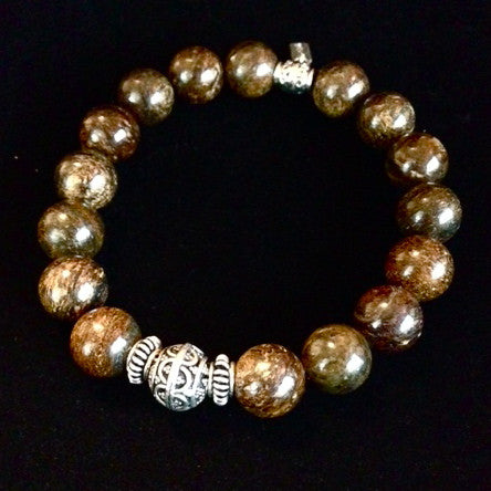 Men's Bronzite with Silver Center Bracelet