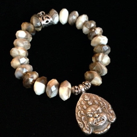 Men's Crystal with Buddha Charm Bracelet