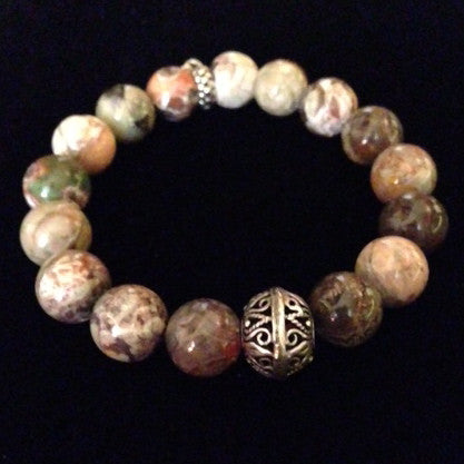 Men's Multi-Colored Tope Agate Bracelet