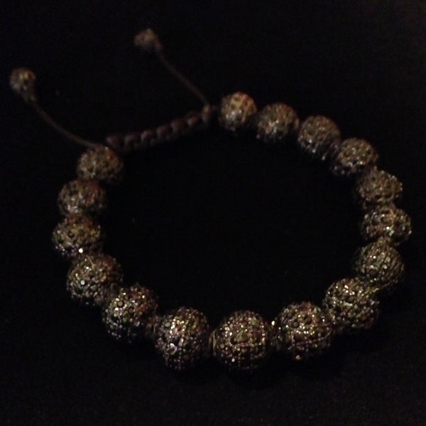 Men's Black Crystal Shamballa Bracelet