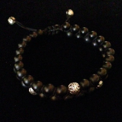 Men's Braided Two-Tier Onyx Bracelet