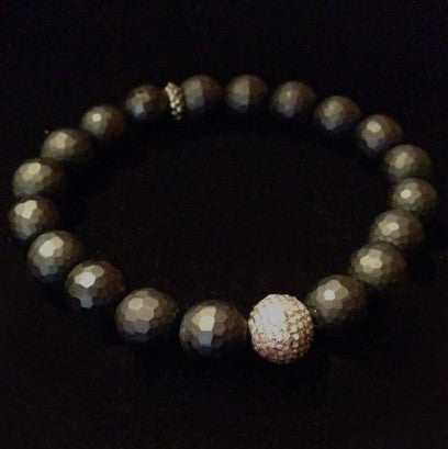 Men's Black Onyx with Diamond Ball Bracelet