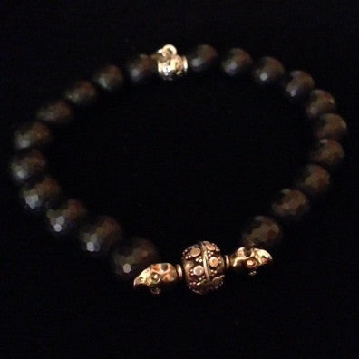 Men's Black Faceted Onyx Bracelet