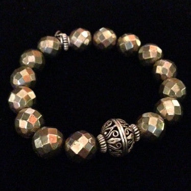 Men's Pyrite with Silver Center Bracelet