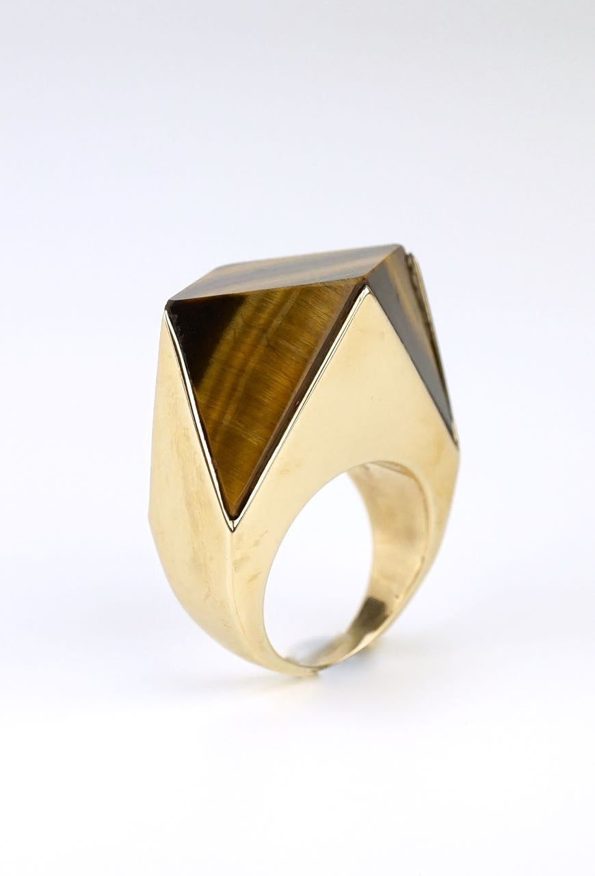 14k gold tigers eye modernist cocktail ring 1970s