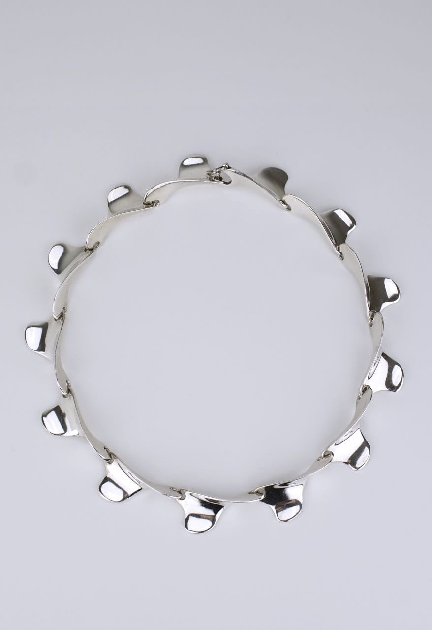 Italian modernist silver curved link necklace 1960s
