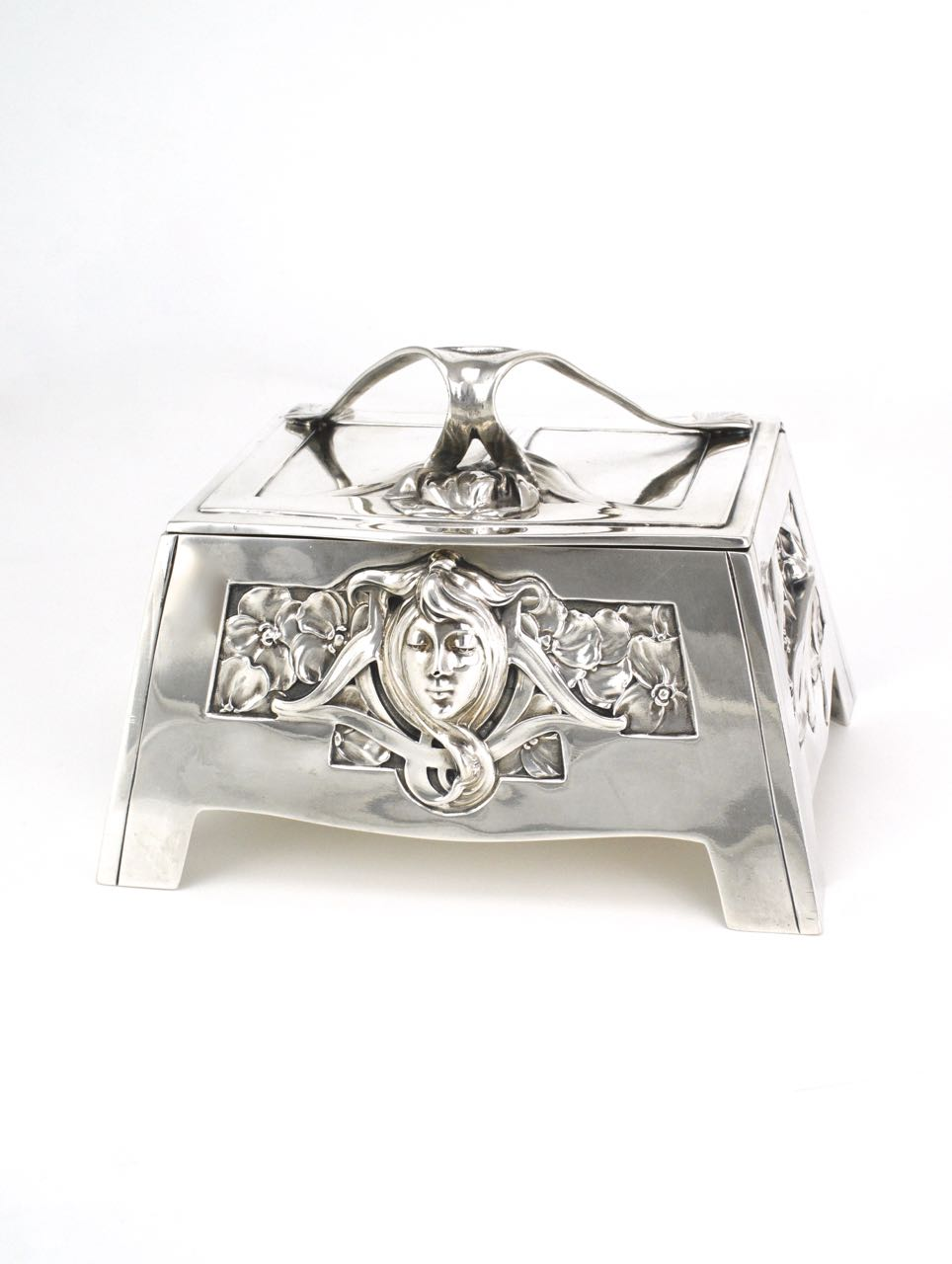 Art Nouveau Solid Silver Sugar Box 1900 Germany - Carl Stock for Bruckmann and Söhne