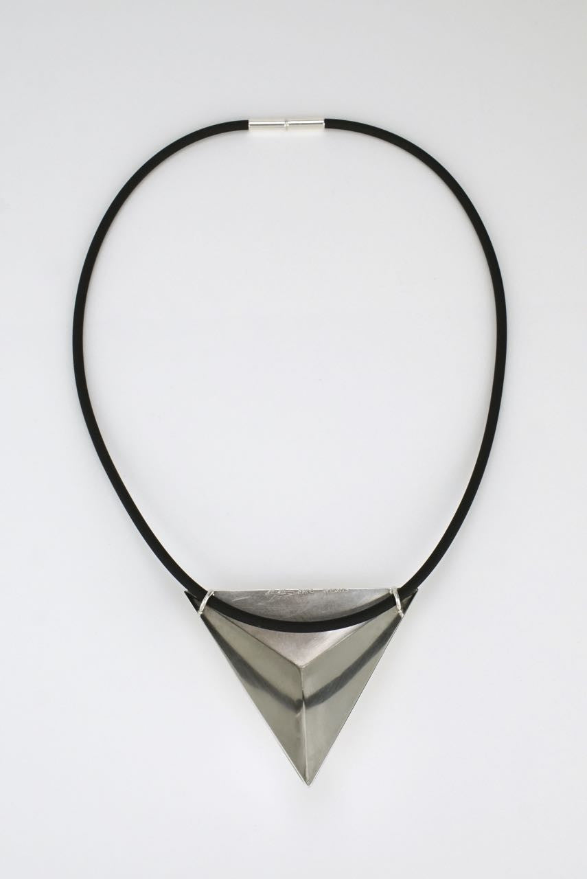 Hans Hansen silver triangle necklace 1980s