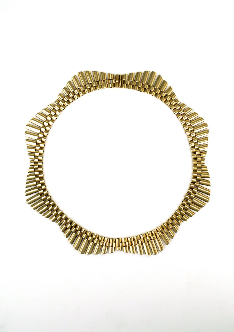 Retro 9k yellow gold gatelink fringe necklace 1950s