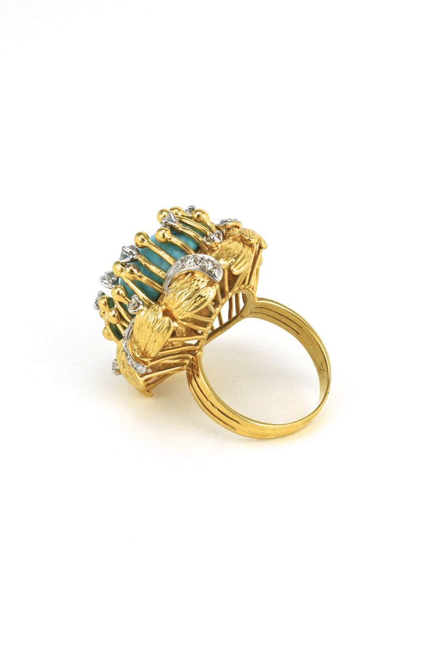 14k gold turquoise and diamond organic cluster ring 1970s