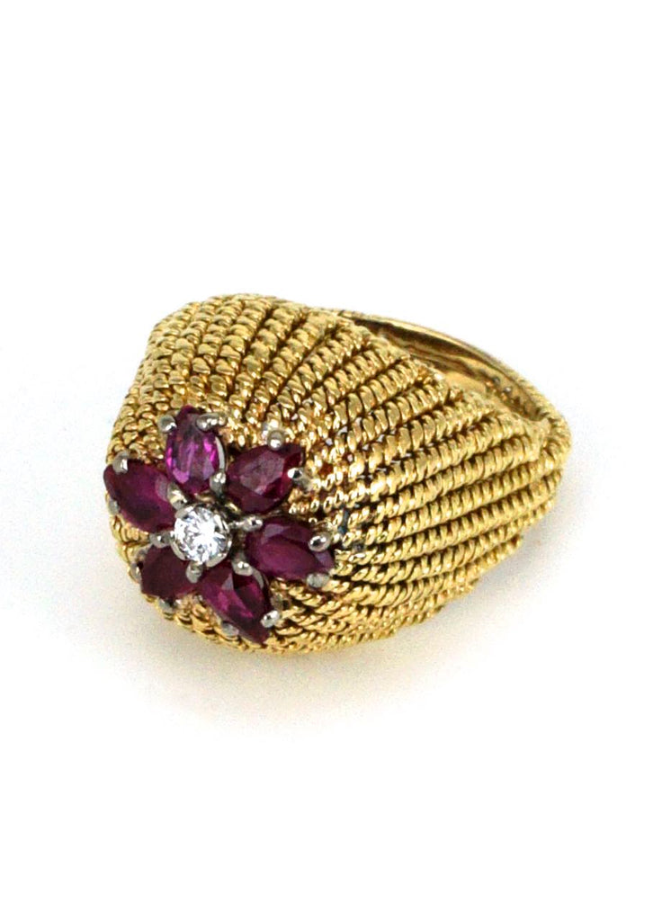 Vintage 18k Yellow Gold Ruby and Diamond Dome Ring 1970s