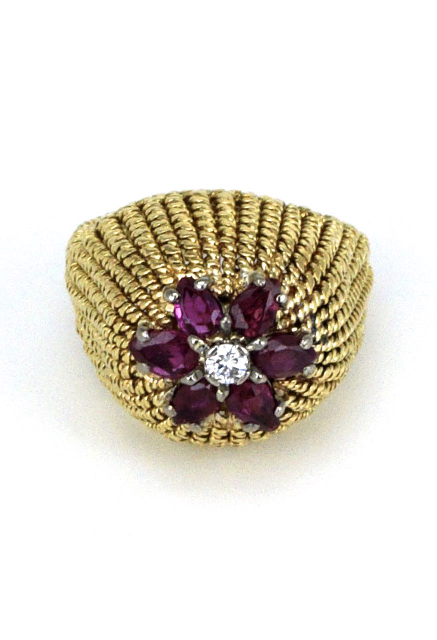 1970s 18k yellow gold ruby and diamond dome ring