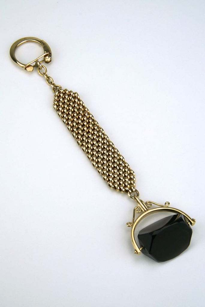 9k gold and smoky quartz keyring