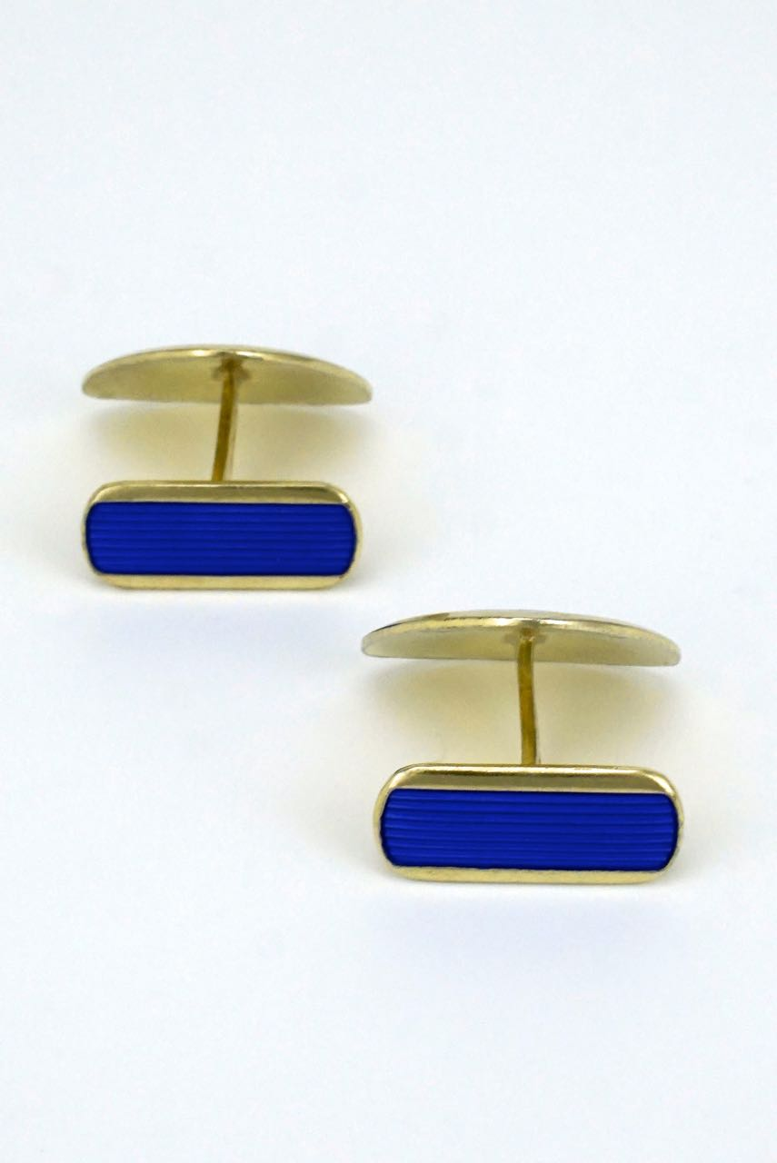 Vintage Scandinavian solid silver and blue enamel triangular cufflinks 1960s