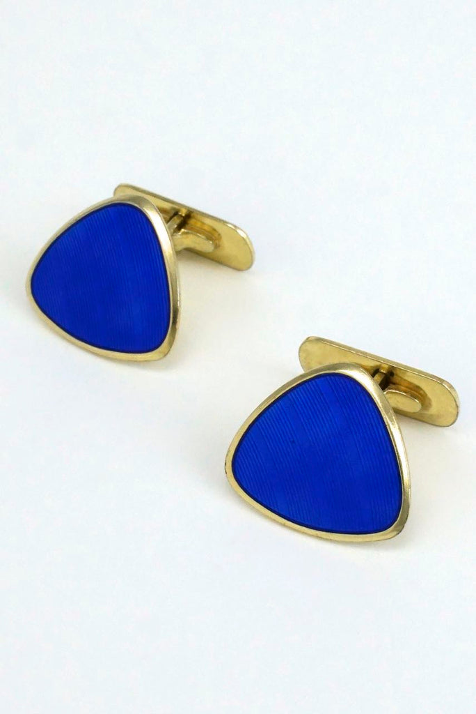 Scandinavian solid silver and blue enamel triangular cufflinks 1960s