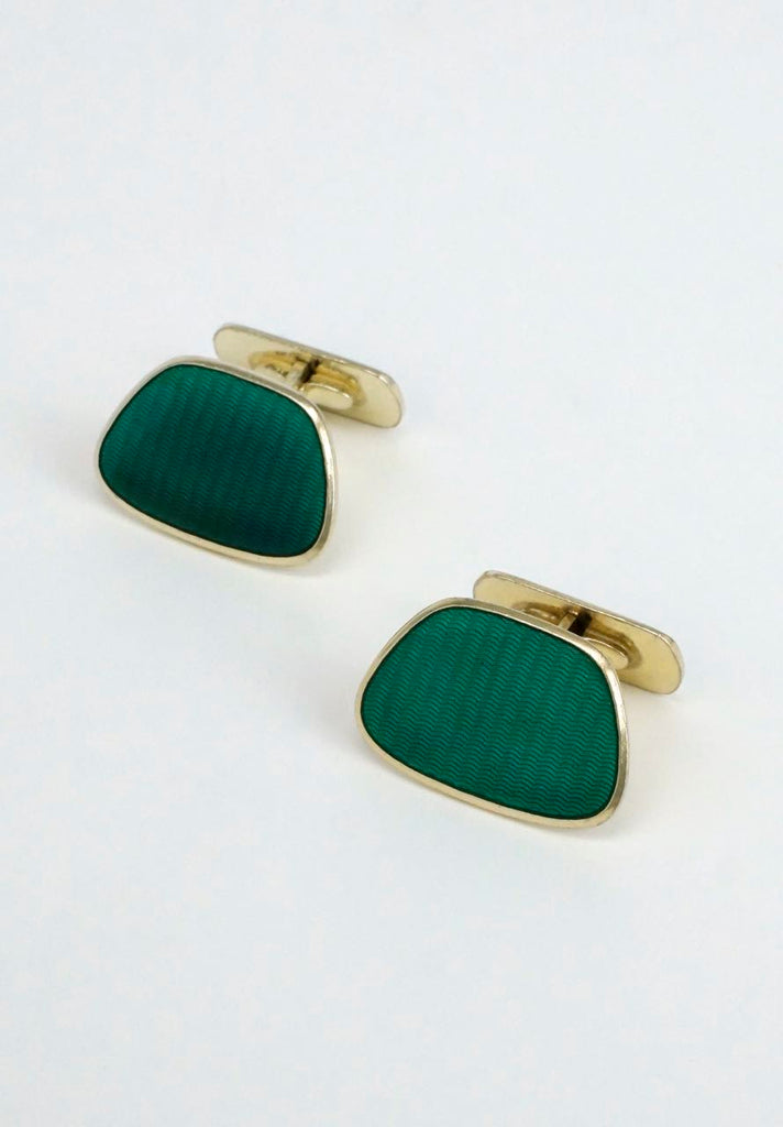 Vintage Scandinavian solid silver and green enamel cufflinks 1960s