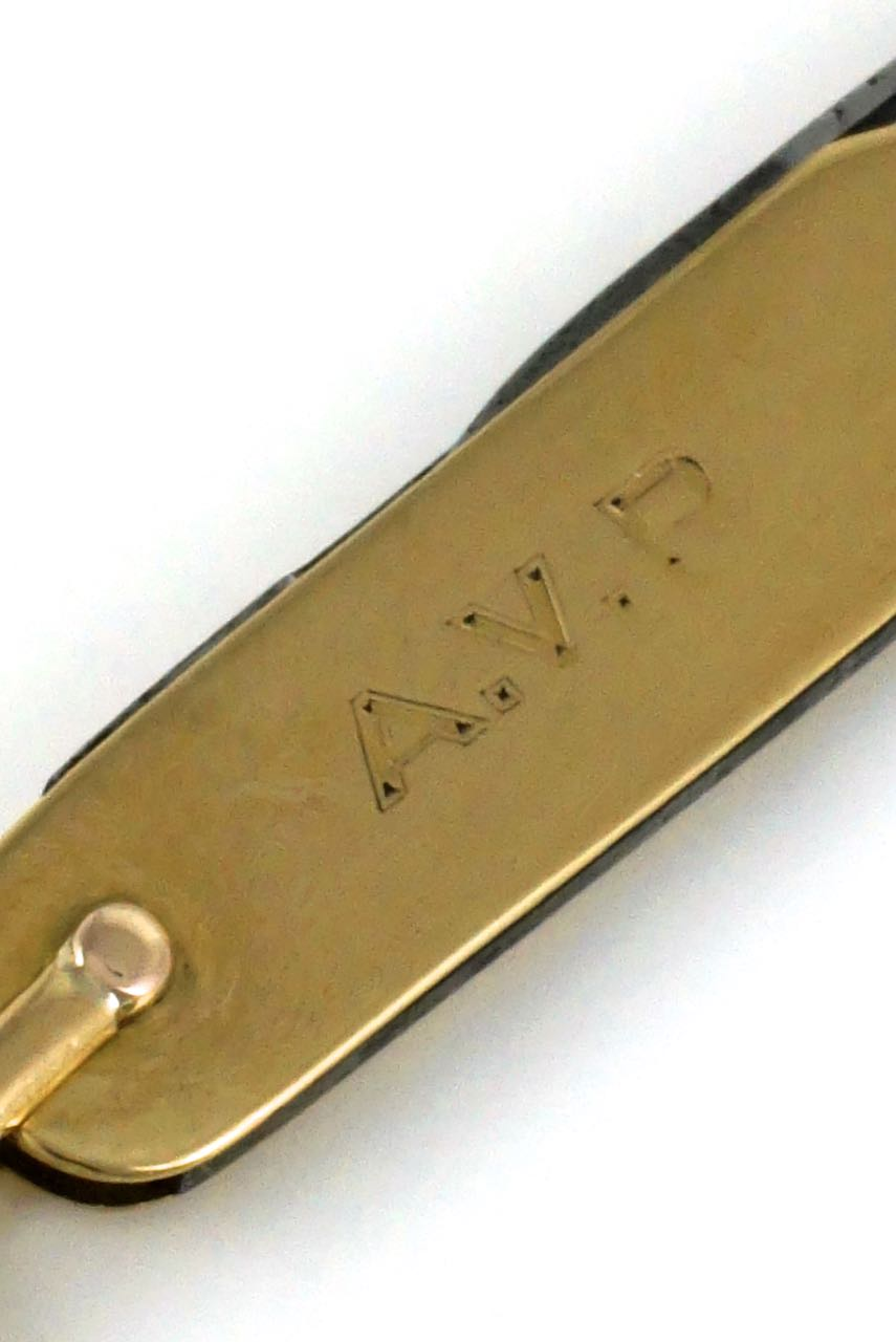 Antique Asprey 18k yellow gold folding pocket knife 1905