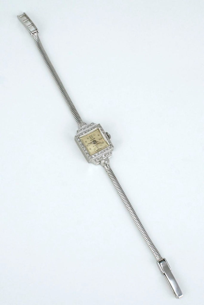 Art Deco Swiss 18k white gold diamond ladies wristwatch