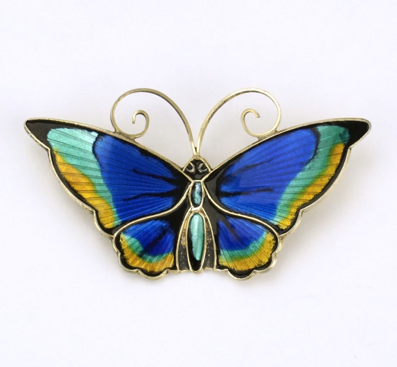 David Andersen silver multicoloured enamel butterfly brooch