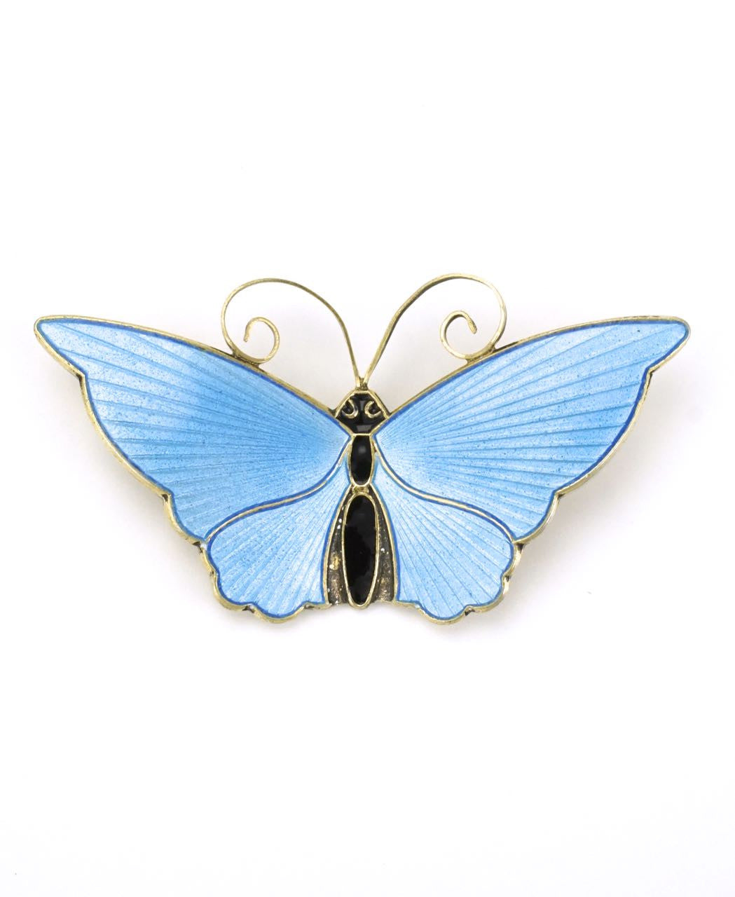 Norwegian silver and blue enamel butterfly brooch 1950s