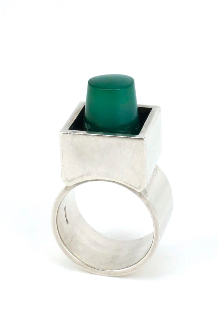 Hans Hansen solid silver and green agate box ring