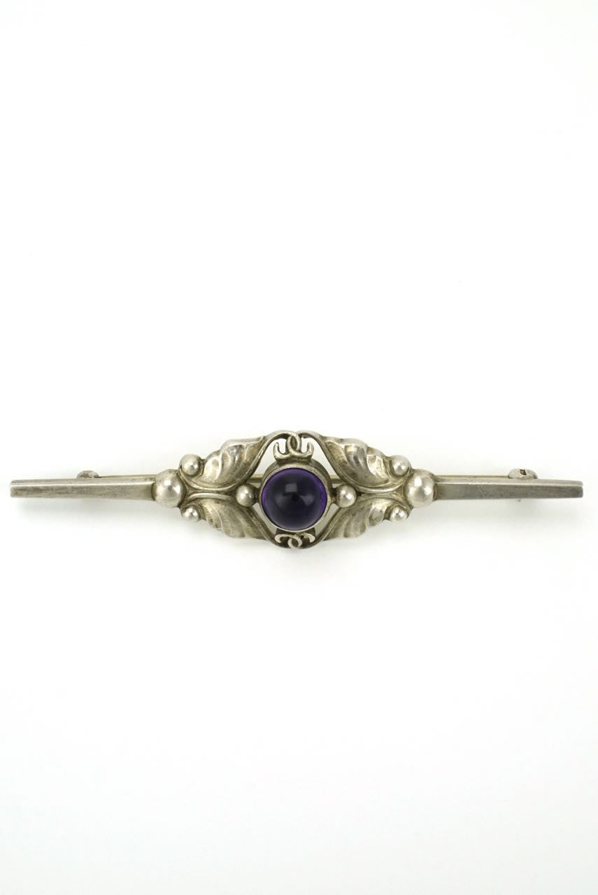 Georg Jensen silver amethyst bar brooch - design 224B