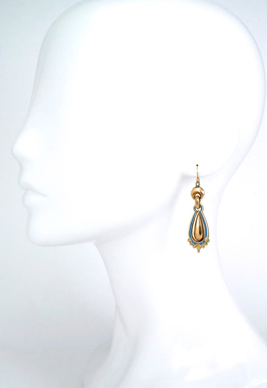 Antique Victorian 9k yellow gold and blue enamel drop earrings