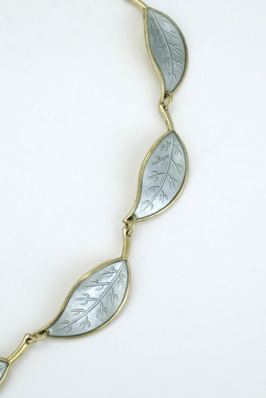 David Andersen silver and pale grey enamel leaf necklace 1950s