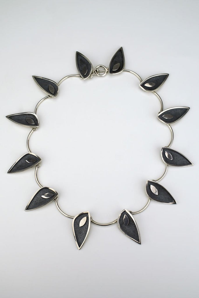 Rudolf Andresen silver modernist leaf necklace