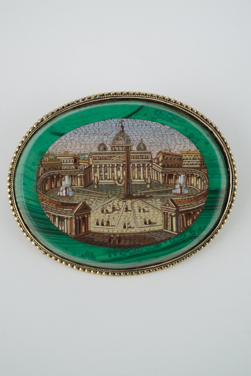 Antique Victorian 14k Yellow Gold and Malachite Micro Mosaic Brooch