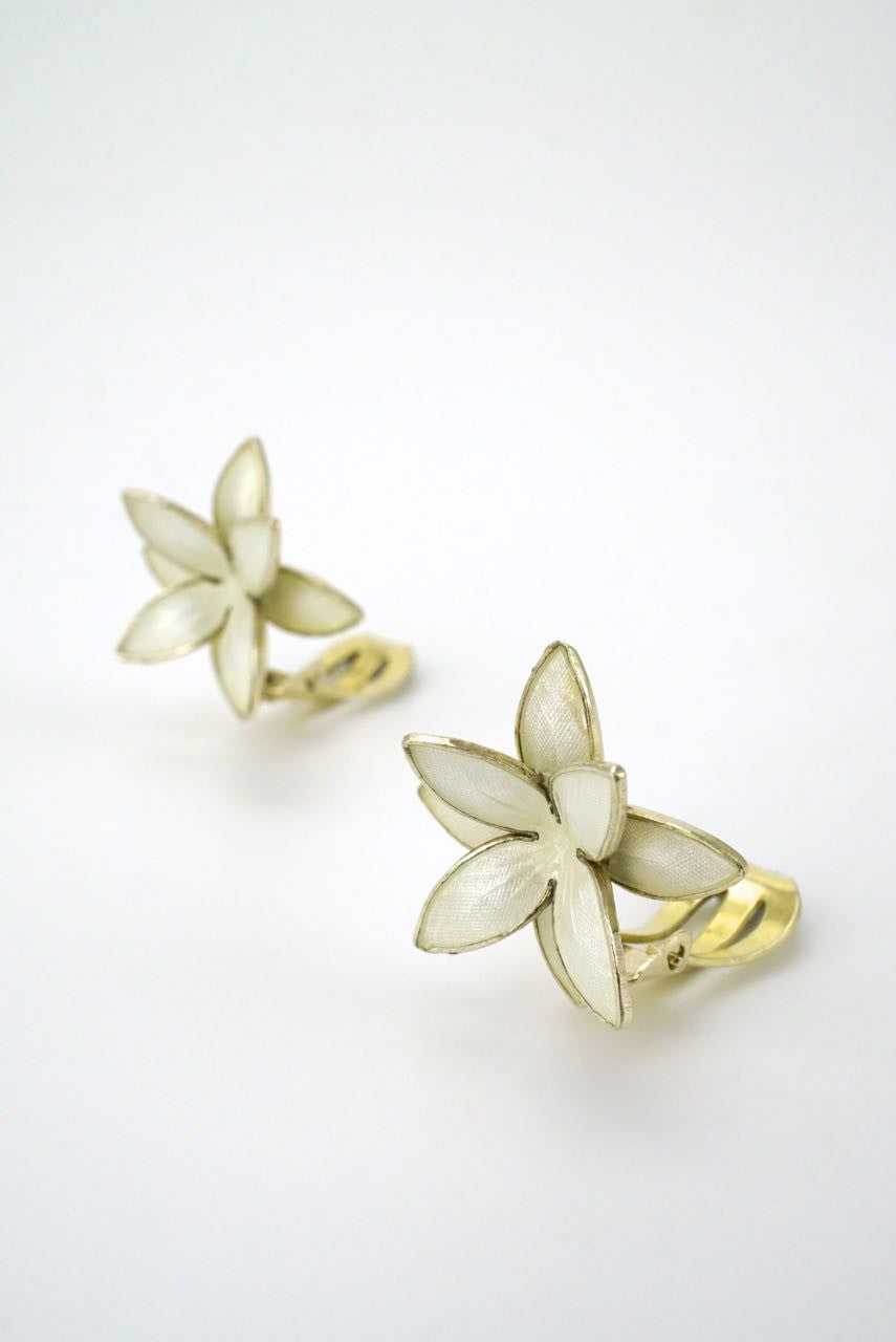Norwegian silver and white enamel flower clip earrings 1950s