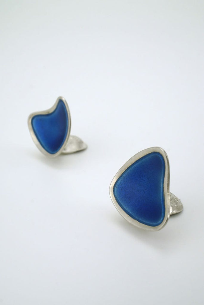 Swedish silver and blue enamel triangular clip earrings 1950s