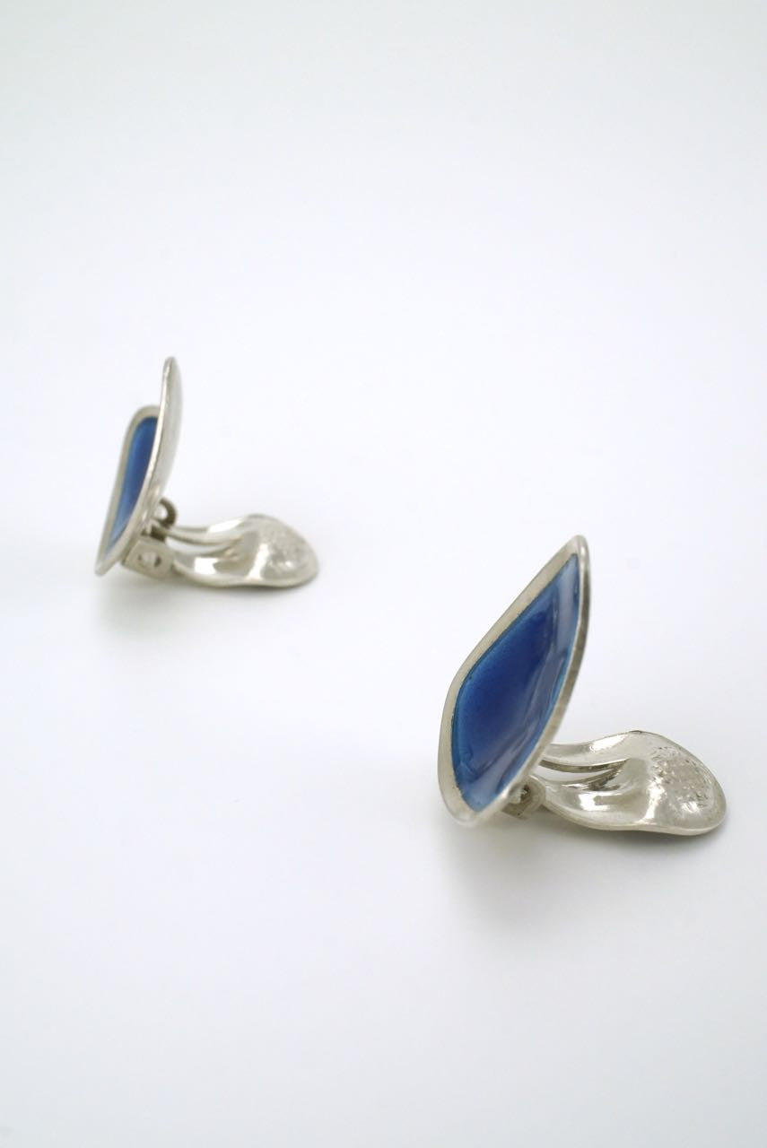 Vintage Swedish silver and blue enamel triangular clip earrings 1950s