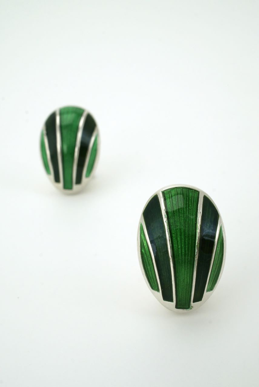 David Andersen silver and green enamel clip earrings 1960s