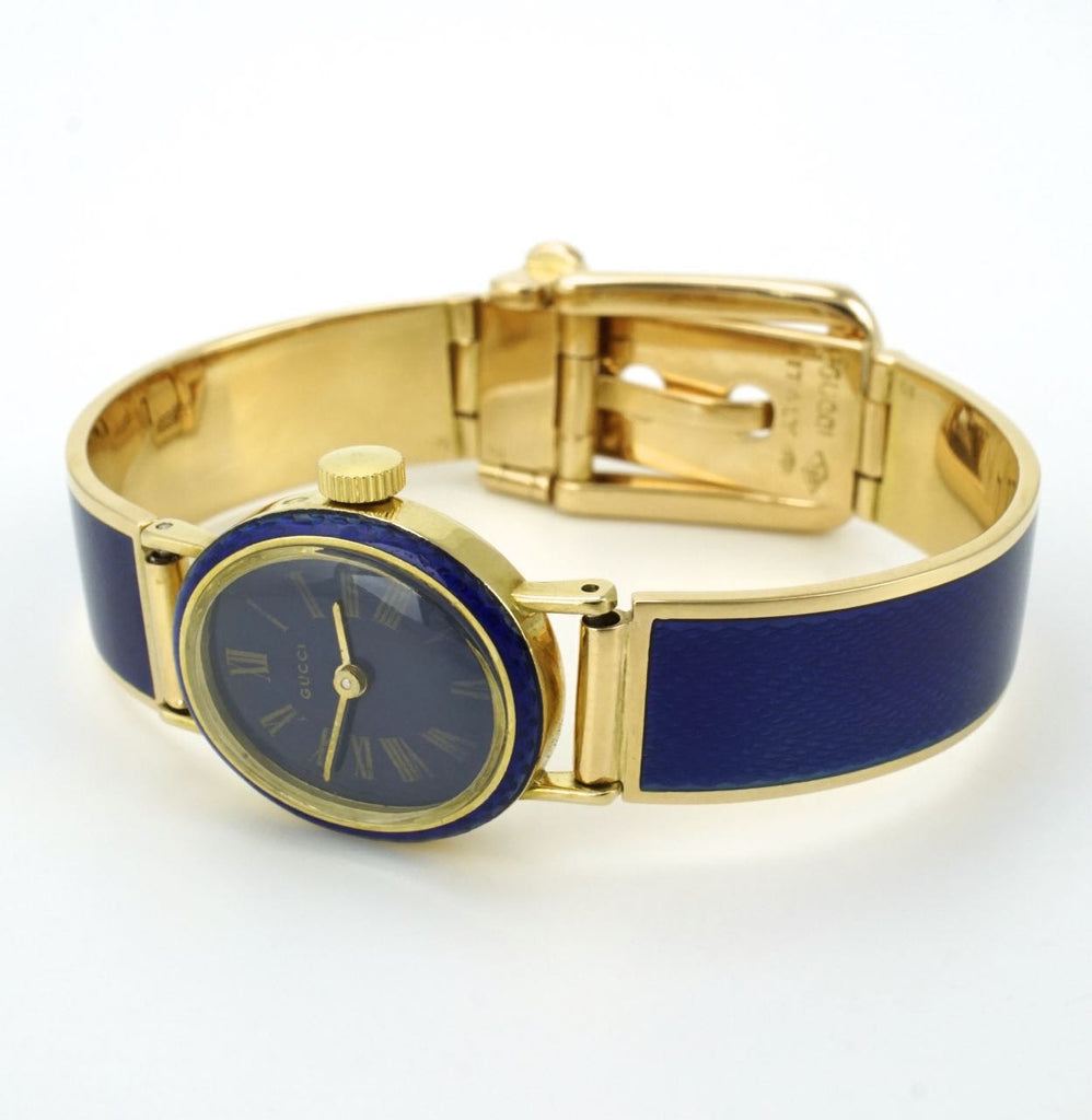 Gucci 18k yellow gold and blue enamel belt buckle bracelet watch