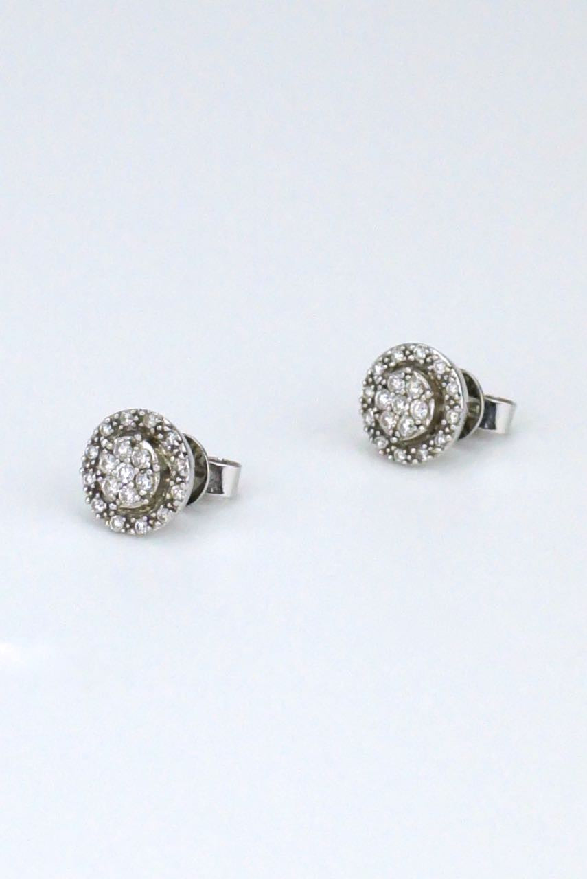 18k white gold and diamond dome stud earrings