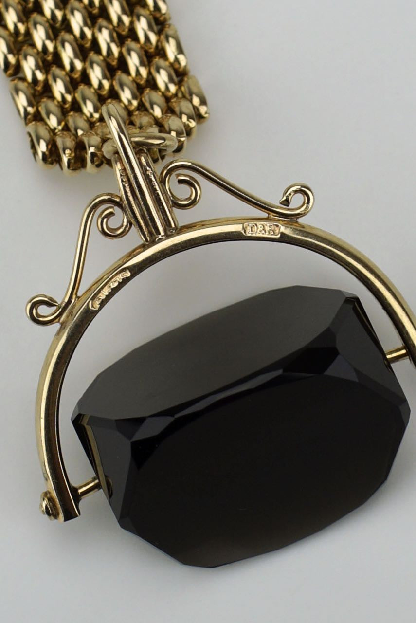 Vintage 9k Gold and Smoky Quartz Keyring