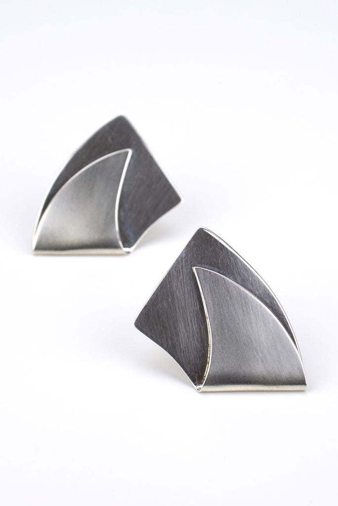 Sydney Lynch silver folded curve earrings