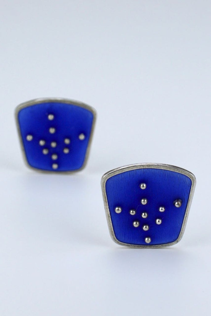 Norwegian Enamel silver clip earrings - Rasmussen