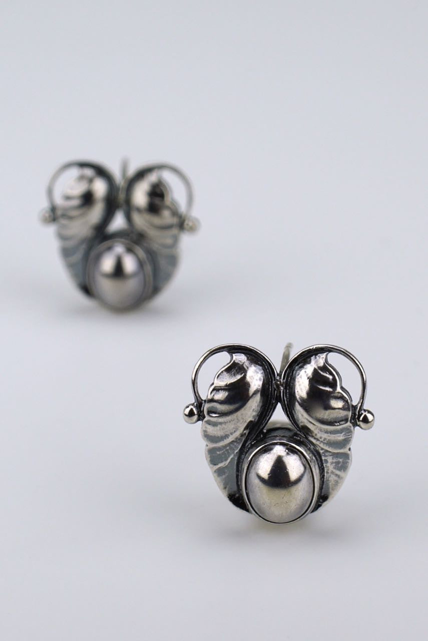 Vintage Georg Jensen Silver Double Leaf Earrings