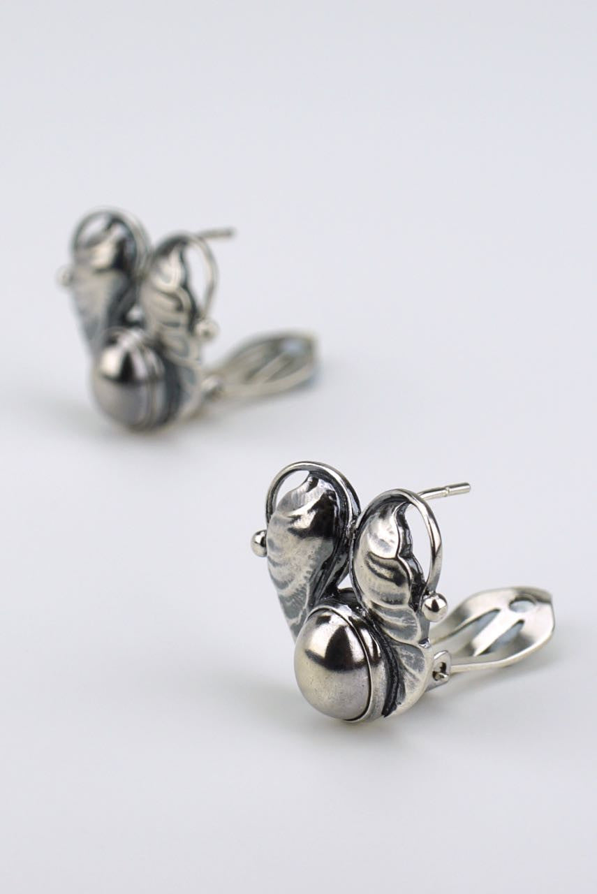 Georg Jensen silver double leaf earrings