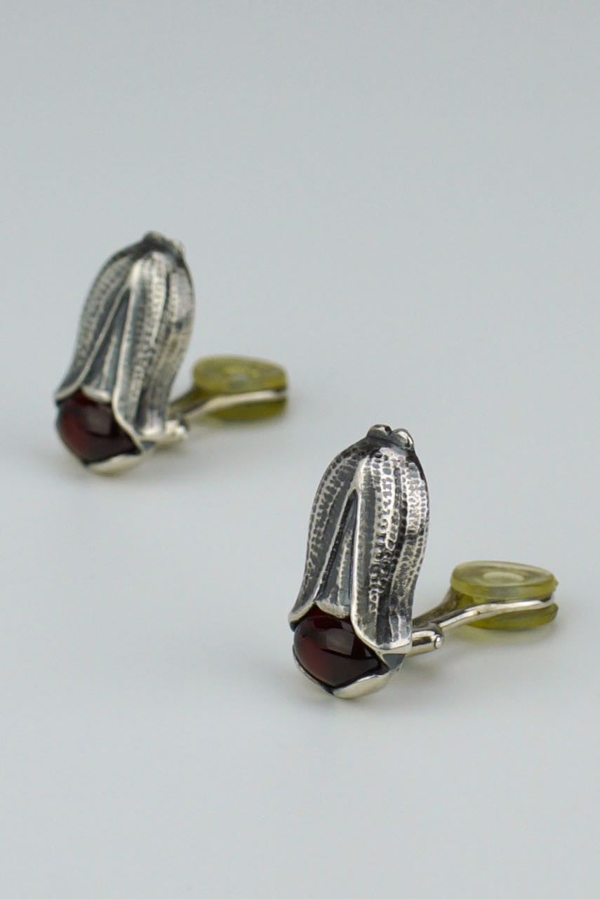 Georg Jensen silver garnet flower earrings - year 2007