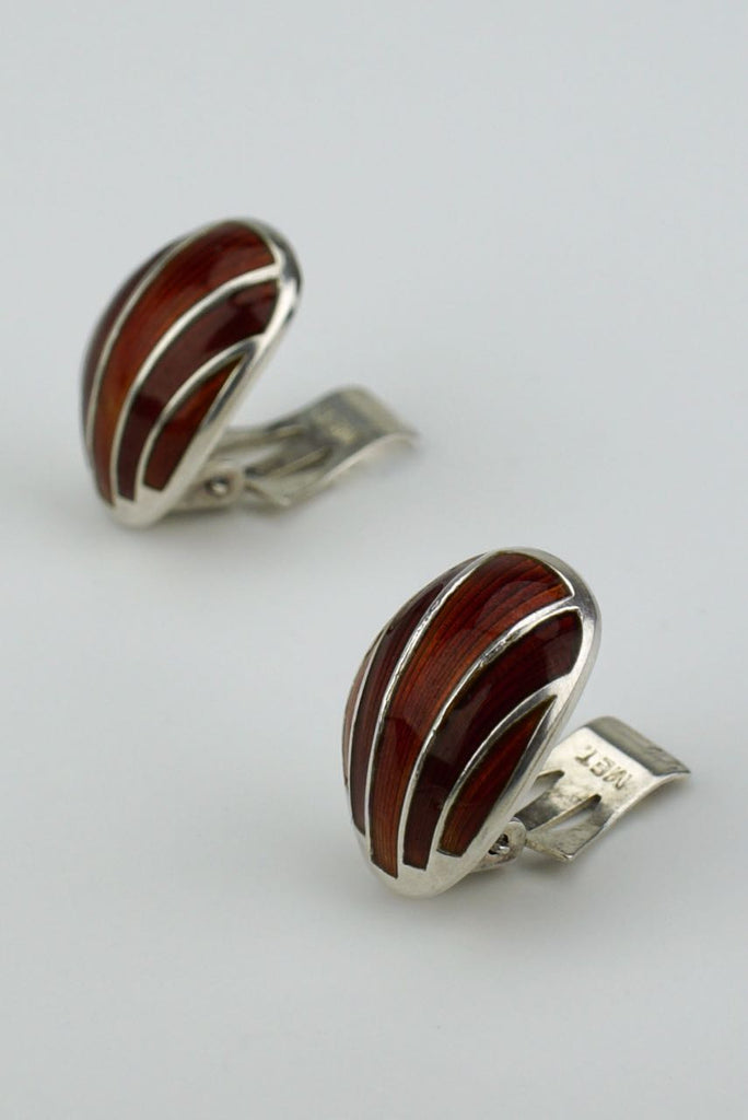 David Andersen silver and red enamel shell clip earrings