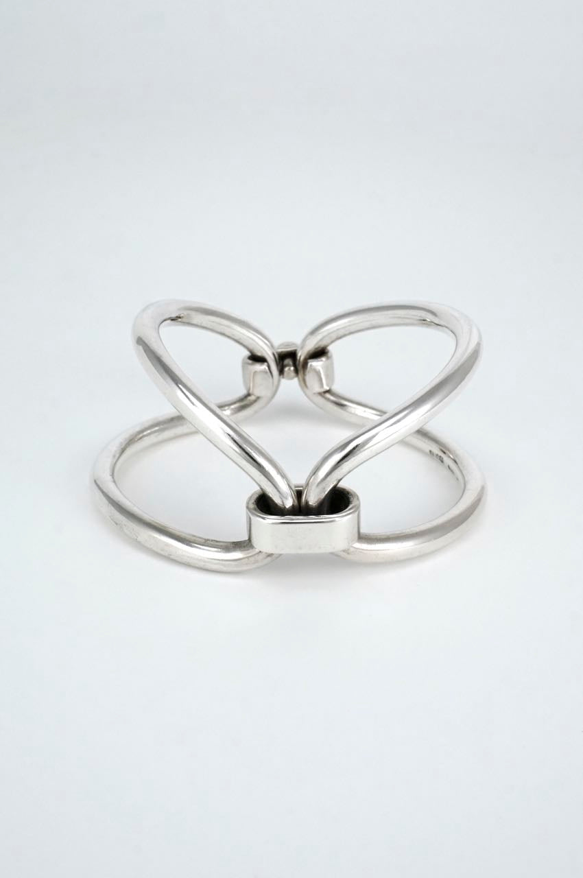 Gucci Solid Silver Double Loop Bracelet 1960s