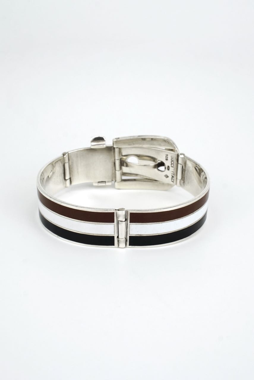Vintage Gucci Silver and Striped Enamel Belt Buckle Bracelet 1960s